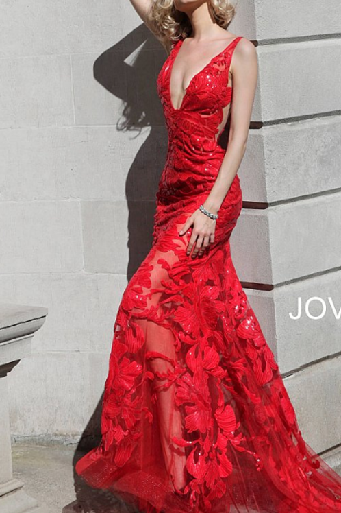 JOVANI 60283 Red Plunging Neckline Embellished Dress
