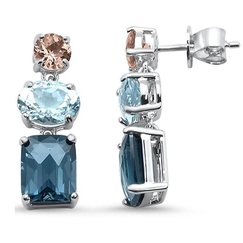 8.45ct 10k White Gold Oval Aquamarine, Topaz & Morganite Diamond Earrings