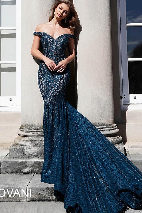 JOVANI Peacock Embellished Lace Off the Shoulder Prom Dress 64521