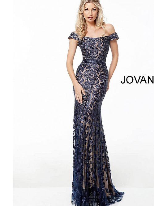 Navy off the Shoulder Lace Evening Dress 49634