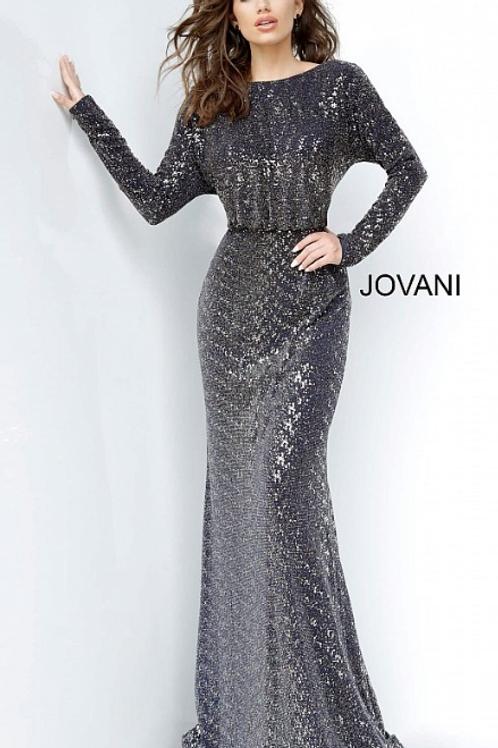 Long Sleeve V Back Jovani Evening Dress 1860