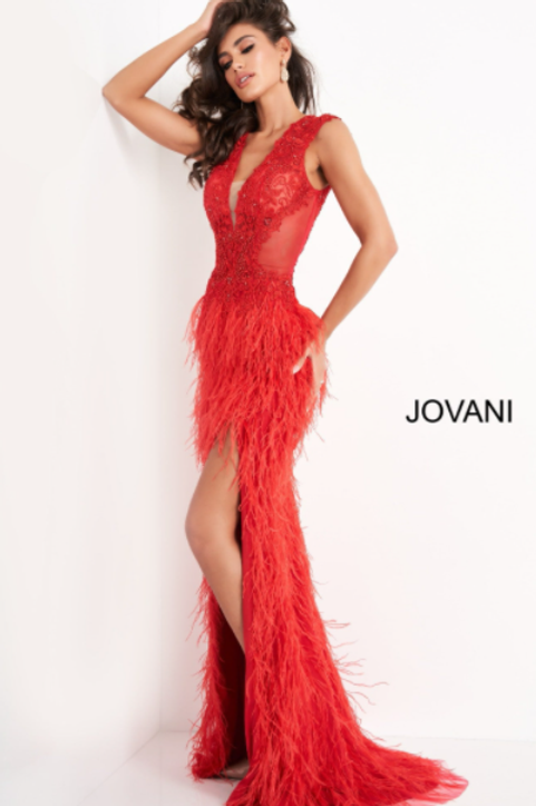 Jovani 06446 Red Embellished Feather Prom Dress