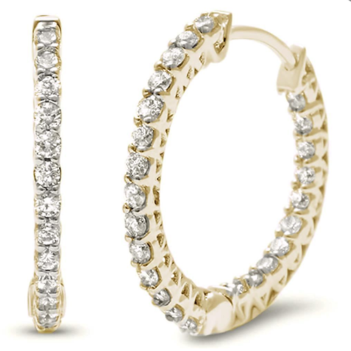 .38ct 14k White Gold Hoop Huggie Diamond Earrings