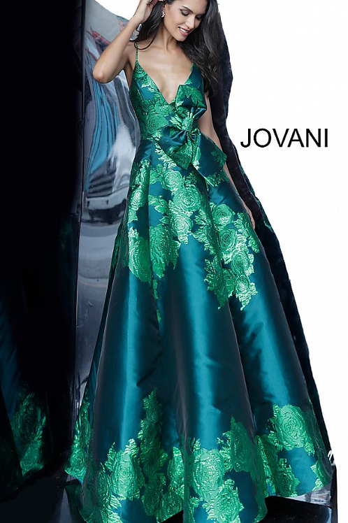 Green Floral Print A Line Jovani Prom Gown 02046