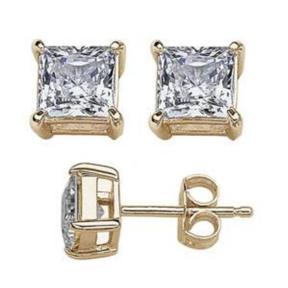 Sterling Silver 10MM Yellow Gold Plated .925 Solid Square Cubic Zirconia Studs