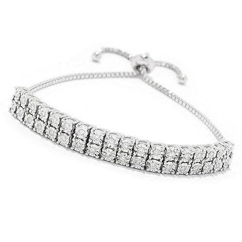 Sterling Silver Diamond Adjustable Slide Bracelet