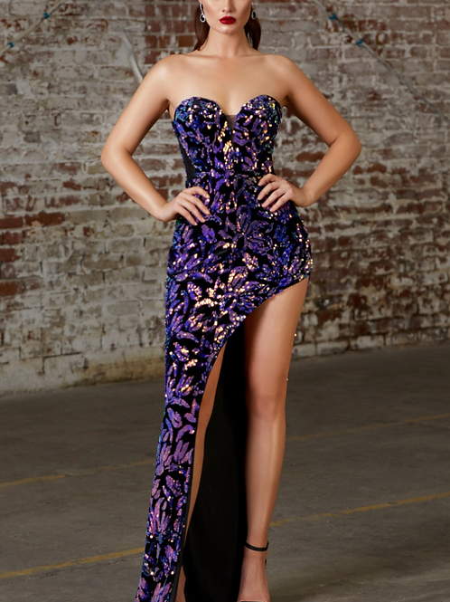 Strapless Sweetheart Sequin Dress W Slit