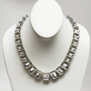 Silver And Crystal Rectangular Headlight Necklace