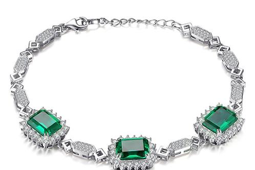 Lab Created Emerald Sterling Silver Link Bracelet