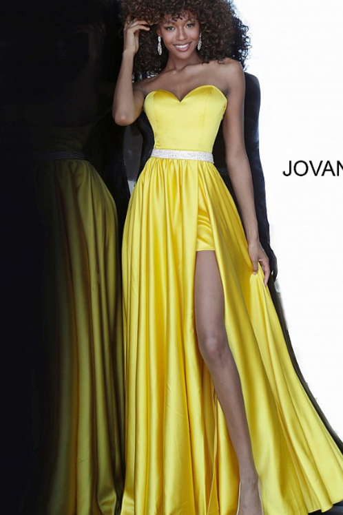 JOVANI Yellow Satin Strapless Sweetheart Neckline Prom Gown 3106