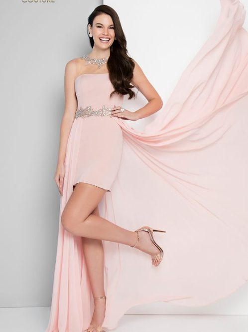 TERANI Embellished Illusion Neckline High Low Prom Dress 1812P5042