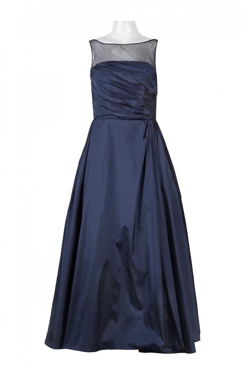 Monique Lhuillier Illusion Boat Neck Cutout Back Ruched Tafetta Dress
