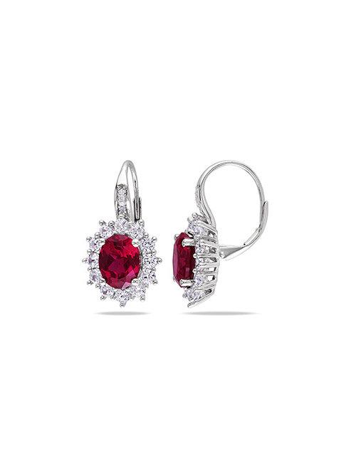 EARRINGS, Ruby & White Sapphire Flower Earrings