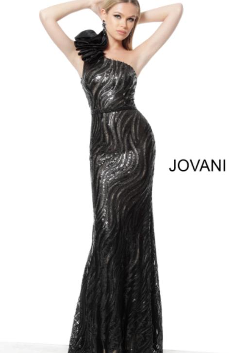 Jovani 56095 Black One Shoulder Embellished Evening Dress