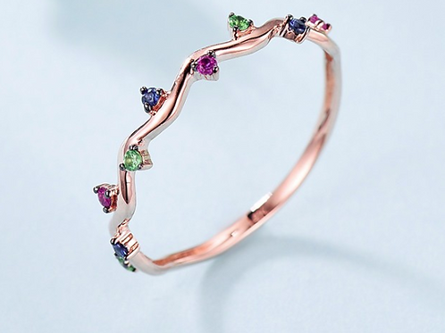 14K Gold Sapphire, Ruby Precious Stone Ring