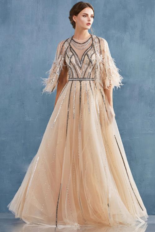 Gabriela Elegant Beaded Ballgown Detach Feather Cape