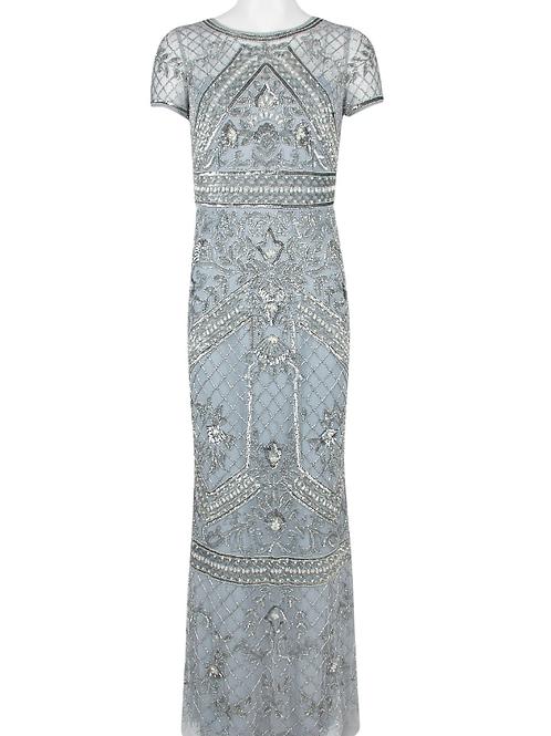 Adrianna Papell Crew Neck Short Sleeve Embellished Mesh Dress