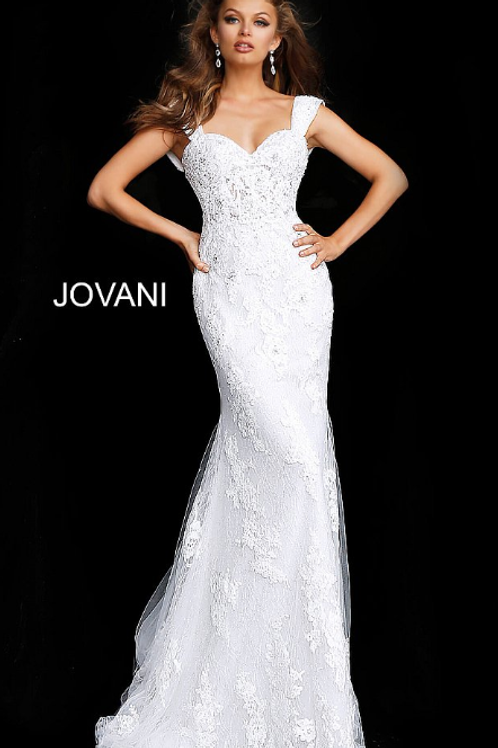 JOVANI Off White Cap Sleeve Embroidered Wedding Gown