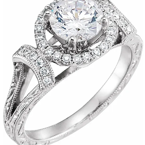 14K White 6.5 mm Round 1/5 CTW Diamond Semi-Set Engagement Ring