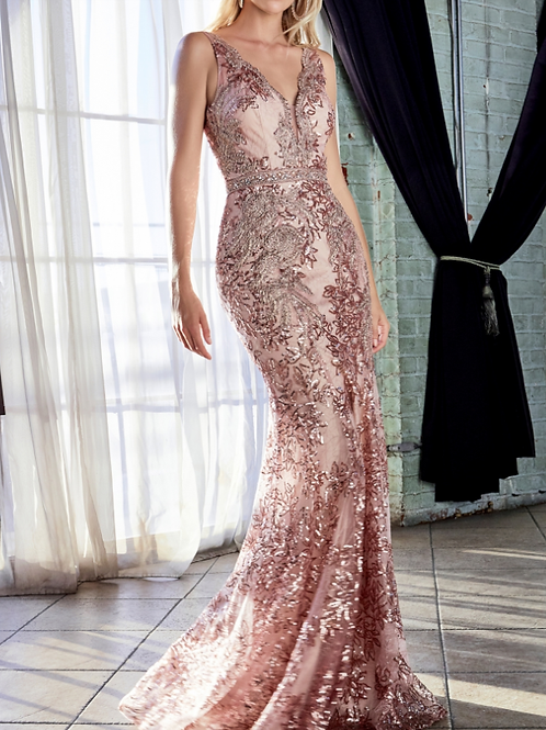 Mignon Manley Fitted W Sequin Applique Open Back Gown