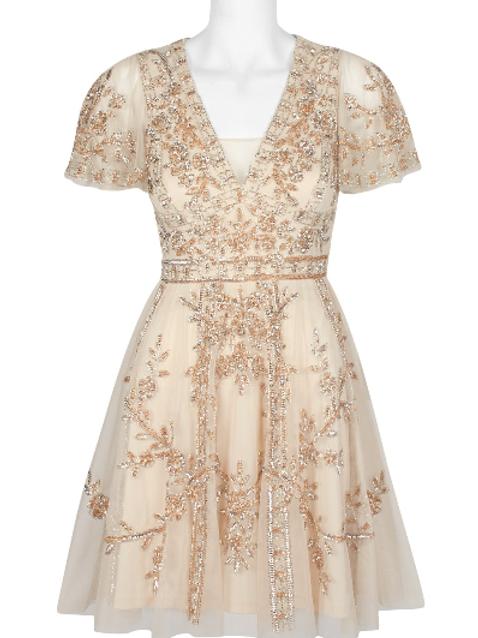 Aidan Mattox V-Neck Short Sleeve A-Line Embellished Dress