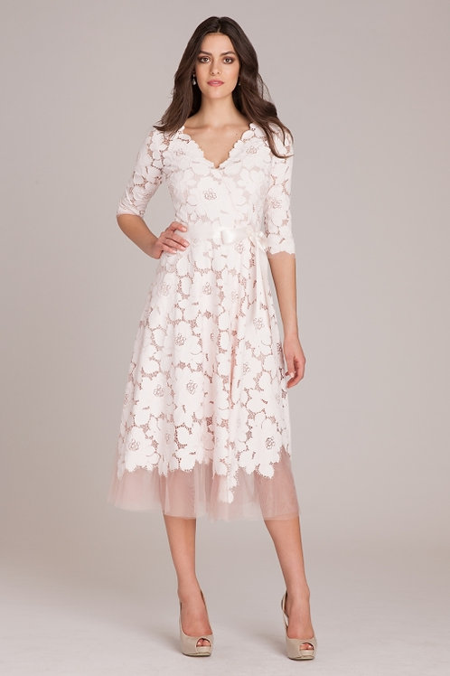 Top Designer BLUSH LACE AND TULLE DRESS