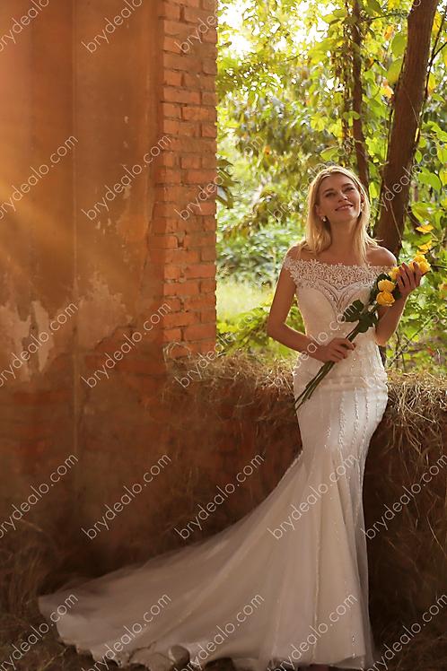 Graceful Off Shoulder Lace Mermaid Wedding Gown