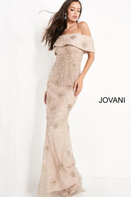 Jovani 03412 Champagne Off the Shoulder Beaded Evening Dress