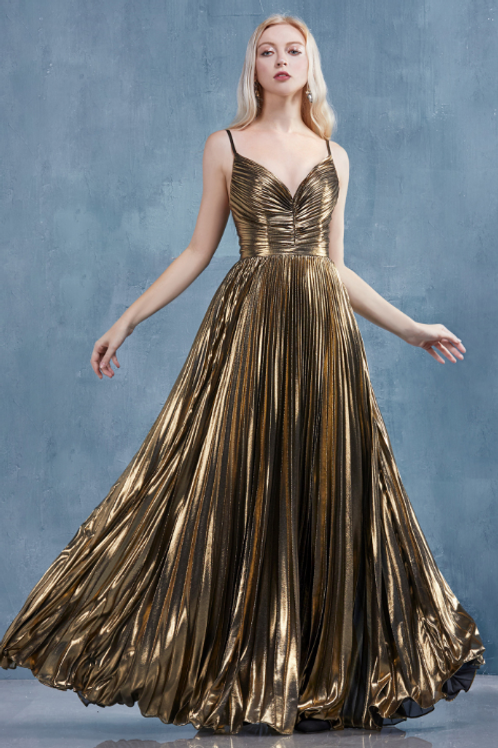 ANDREA & LEO Cleopatra Gold Leaf Lame Pleated A-Line Gown