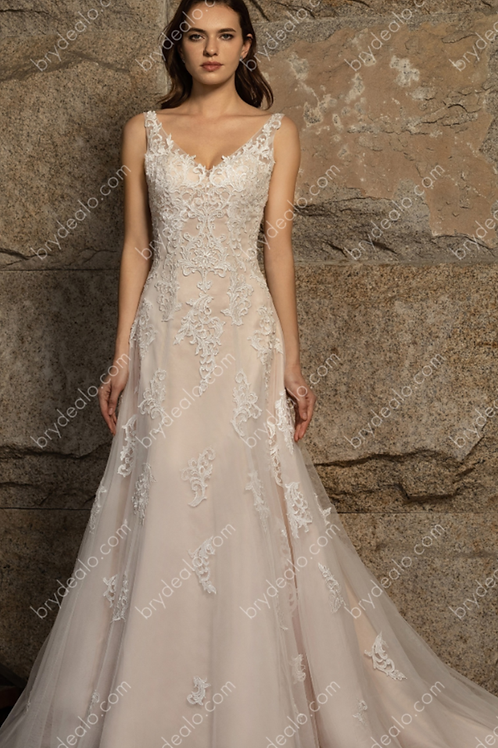 Romantic Strap V-neck Fit & Flare Wedding Gown