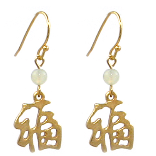 Good Fortune Earrings, gold-plated