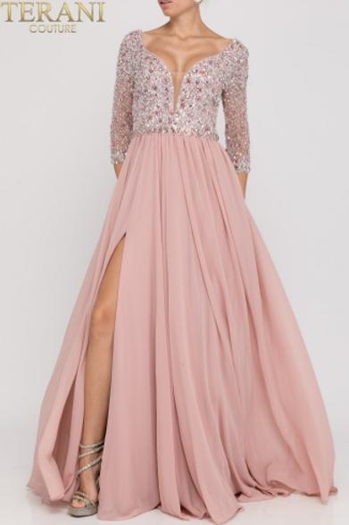Terani Crepe Gown w Side Slit Embellished Top