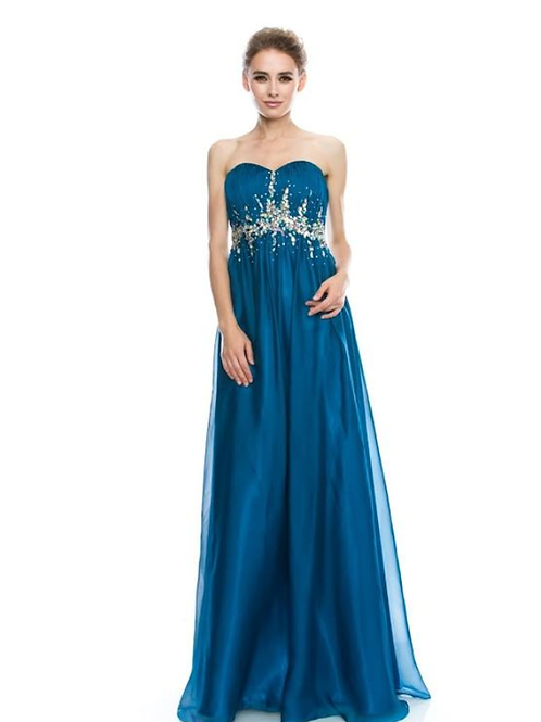 EVENING GOWN - TEAL STRAPLESS SWEETHEART A-LINE CHIFFON BEADED