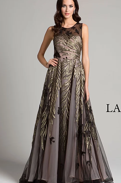Stunning Sheer Neck Crepe Gown With Gold Embellishment