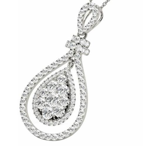 Diamond Oval Pendant1.03CT 18KT White Gold Necklace