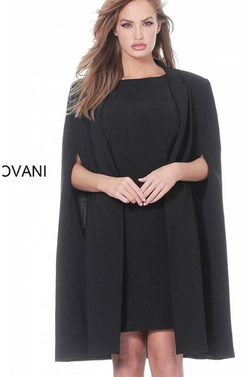 Jovani 3551 Black Knee Length Cocktail Dress with Cape