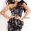 Thumbnail: Navy Gold One Shoulder Short Contemporary Dress M3289