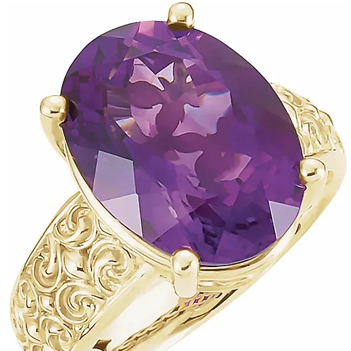 14K Yellow Amethyst Sculptural-Inspired Ring