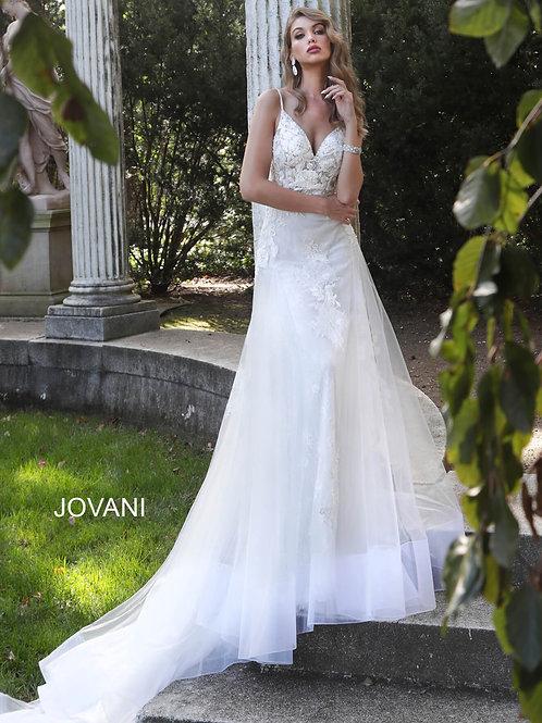 White Spaghetti Straps Long Train Wedding Gown JB65930