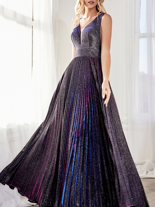 A-line pleated gown with glitter metallic finish and deep plunge v-neckline.