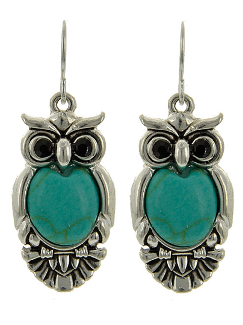 Silver Plated & Antique Silver Tone / Turquoise Stone Earrings