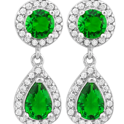 MIGNON CREATED EMERALD 925 STERLING SILVER EARRINGS