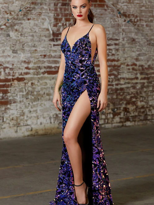Sexy Slim Fit Sequin Gown W High Leg Slit