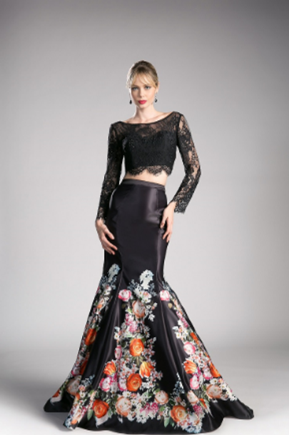 Stunning Satin Floral 2 Piece Mermaid Gown