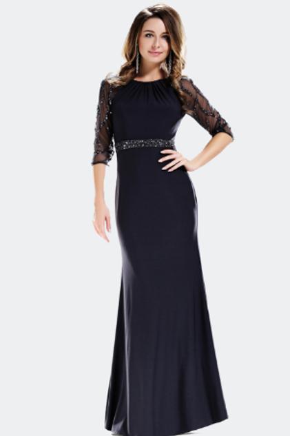 Quarter Sleeve Dress With Elegant Rhinestones Detailing