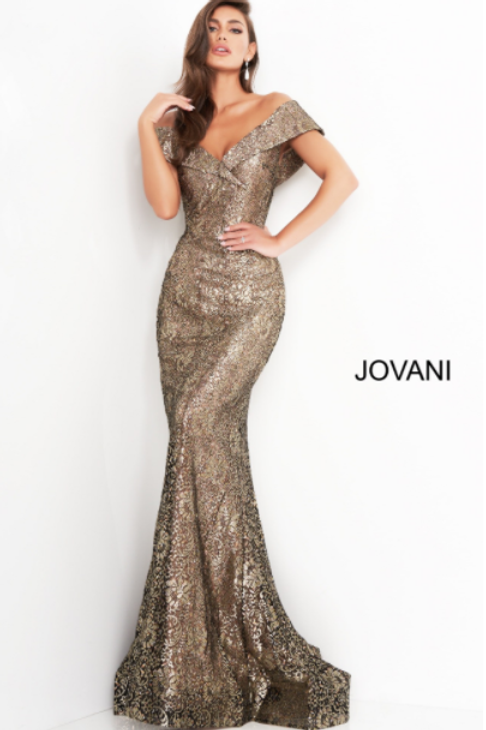 Jovani 02920 Black Gold Fitted V neck Evening Dress