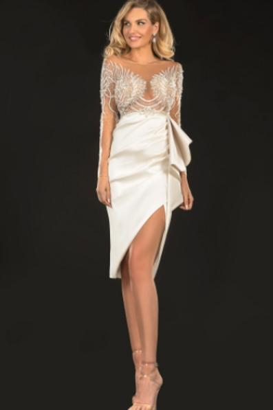 Tarani Couture Stunning Satin Embellished To Dress