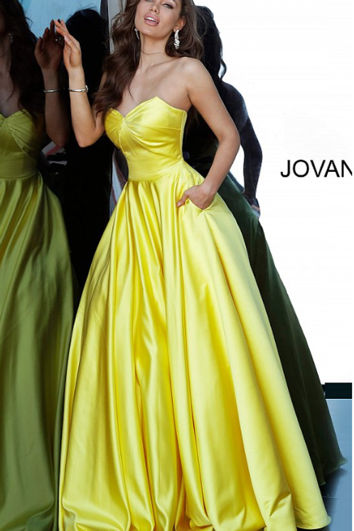 JOVANI Yellow Strapless Sweetheart Neckline Satin Prom Gown 67847