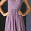 Thumbnail: A-line Chiffon Dress with Gathered Bodice and Beaded Cap Sleeve.