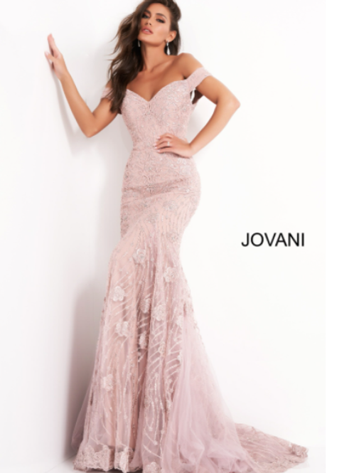 Jovani 00617 Mauve Off the Shoulder Evening Dress